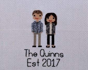 Custom Cross Stitch Family Portrait Realistic   Couple   Second 2nd Cotton Anniversary   Personalized   Engagement   Wedding   Gift  Present