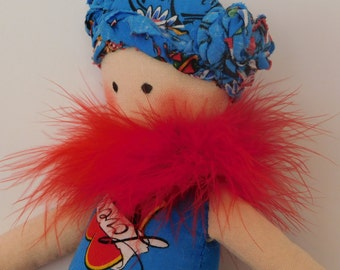 Cloth doll, Rag Doll, Fabric Doll, Small Doll, Cute Doll, Tattooed Doll, Doll with Attitude