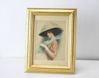 Antique Gibson Girl Cabinet Card - Frank H. Desch - 1905 - 1912 - Lithograph - Framed and Matted - Vintage Women's Fashion - Bonnet
