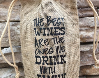 burlap wine bag, wine tote, family gift, christmas gift, hostess gift, wedding gift