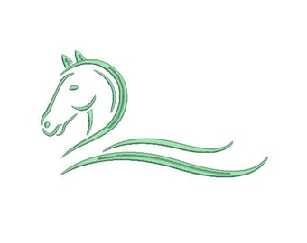 Horse Swirl Embroidery Design in 3 Sizes - INSTANT DOWNLOAD