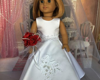 American Girl Wedding Dress - 18 inch doll wedding Gown, veil, bouquet, shoes -  fits American Girl and similar 18 inch dolls