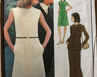Vogue 1053 - 1970s Paris Original Molyneux Design A Line Dress or Tunic and Pants - Size 14 Bust 36