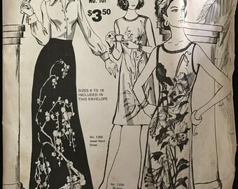 Alfred Shaheen Hawaii 1200 1300 6100 - Button Shoulder Shift, Jewel Neck Dress, and Hostess Length Skirt - Size 6 8 10 12 14 16 18