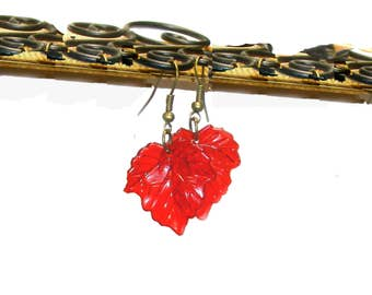Red Maple Leaf Earrings - Indian Red Summer, Leaf Legends of the Fall Collection - Mother Nature - Autumn - Fall