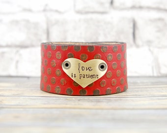 Leather Cuff Bracelet - Leather Cuff - Colorful Bracelet - Painted Leather Cuff - Hand Stamped - Metal Stamped Jewelry -Leather Bracelet