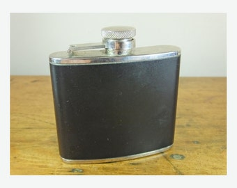 Vintage hipflask 4oz pleather 1980s stainless steel