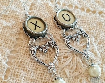X and O Heart Dangle Earrings, Victorian Hearts, Silver Dangle Earrings with Pearl Drop, Hugs and Kisses Jewelry, Antique Typewriter Keys