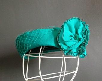 Vintage hat - turquoise pillbox hat