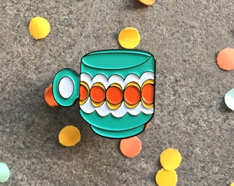 Enamel lapel pin badge/ retro/ kitsch/ cup of tea