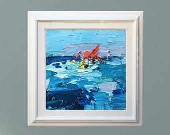 Ship Painting Ocean Painting Sailboat Painting Sailboat Art Ocean Abstract Wave Painting Sailing Art Impressionist Art Gift For Him Dad Gift