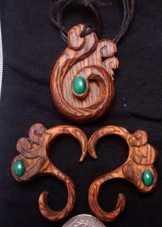 tribal jewelry set, maori pendant, thread cutter, worry jewelry set