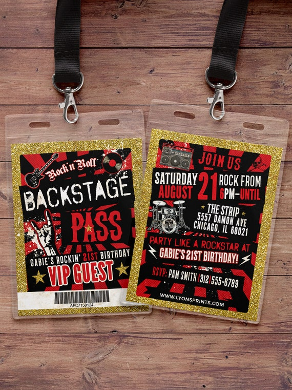 punk rock vip pass backstage pass vip invitation birthday pop star rock star birthday. Black Bedroom Furniture Sets. Home Design Ideas