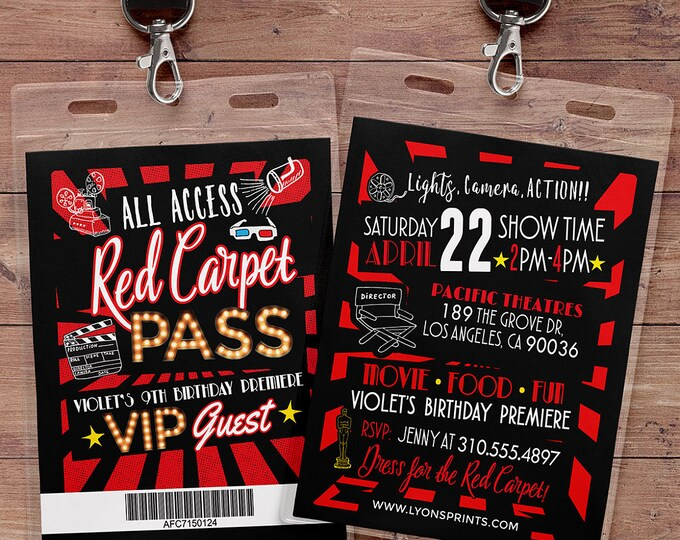 Hollywood Birthday, Sweet 16, VIP PASS, backstage pass, Vip invitation, birthday invitation, pop star, glitter, movie, film, Digital files