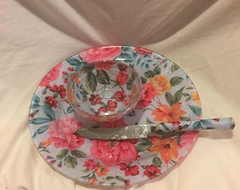 Plate, Knife, Bowl Blue, Pink Chintz Floral Decoupage Fabric Backed