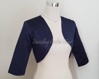 Navy/Dark Blue Satin Bolero Fully Lined - UK 4-26/US 1-22 Shrug/Cropped Jacket/Wrap/Shawl/Stole/Tippet