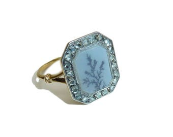 Edwardian Dendritic Agate And Old Cut Diamond Poison Locket Ring