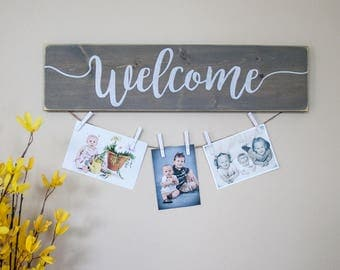 WELCOME Sign- rustic wooden photo display- farmhouse style- weathered look- wall decor- memory maker