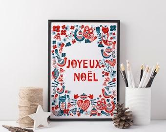 Scandinavian Christmas Printable. Joyeux Noël, Christmas printable art, Christmas poster, Wall art print. JPG files. Instant Download.