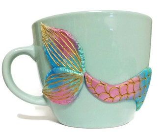 Gold Mermaid Mug, Turquoise Mug, Girlfriend Gift, Valentines Mug, Mermaid Tail, Mermaid Decor, Mermaid Coffee Mug, Rainbow Mermaid Gift Idea