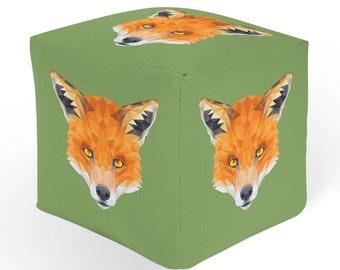 Fox Ottoman, Cube Pouf Footrest, Polyester Ottoman, Green Orange Decor, 18x18 Ottoman, 13x13 Cube Seat, Durable Footstool, Animal Hassock