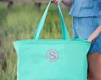 Tote Bag Monogrammed Tote Bag Personalized Tote Bag Ultimate Tote Bag Mint Tote Bag Bridesmaids Gifts Monogrammed Gifts for Her