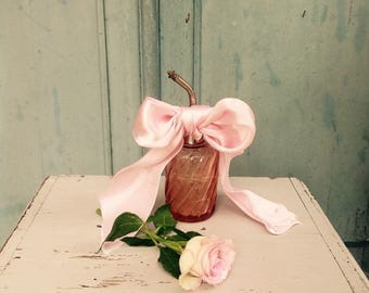 Fabulous antique French rose pink baccarat crystal scent bottle - vaporizer - perfume bottle
