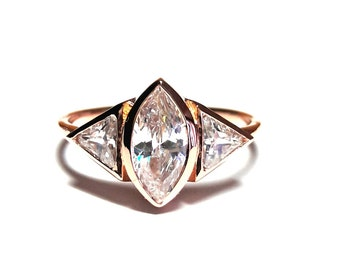 Marquise Ring,Triangle Ring,Rose Gold Ring,Diamond Ring,925K Silver Zirconia Ring