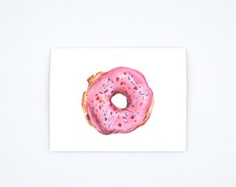 Strawberry Donut Notecard - Donut Art Card - Donut Illustration - Donut with Sprinkles - Watercolor Card -  Blank Notecard - Blank Card