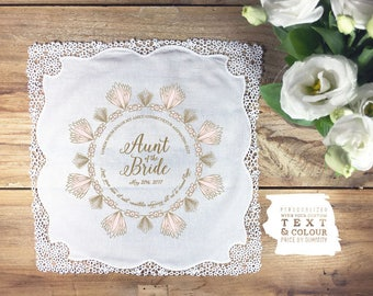 Personalized Aunt of the Bride thank you handkerchief, gold and blush wedding, wedding handkerchief,  prices per hankie and depend on qty