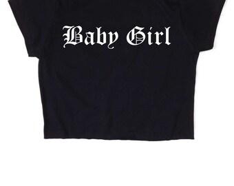 Baby Girl Gothic ∘ Crop top ∘ 90s Grunge Rock ∘ Kawaii ∘ Pastel ∘ Baby Blue Pink ∘ Goth ∘ Womens Ladies ∘ S M L XL 2XL