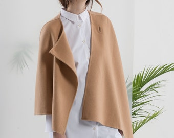 Minimalist / JL012 Double face cashmere asymmetric camel cape / Lazy Cozy Easy