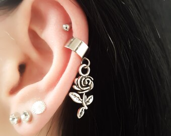 Flower rose no piercing ear cuff, faux ear piercing, silver tone, nature jewellery, outdoor jewelry, teenage girl gift, sister gifts, simple
