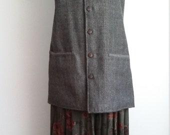 Herringbone vest, L, XL, tweed vest, grey tweed vest, long vest, tweed jacket, herringbone jacket, grey vest, wool vest