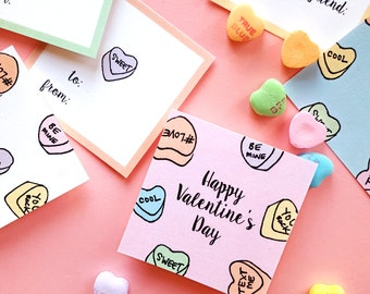 INSTANT DOWNLOAD - Printable Valentine's Day Treat Tags/Stickers (6 designs) - 2.5x2.5 - Hand-drawn Sweethearts