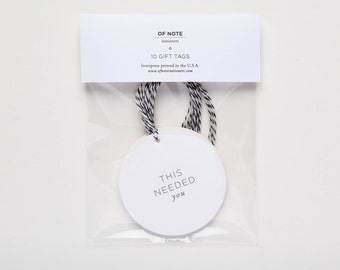 This Needed You - Set of 10 Letterpress Gift Tags - blank tags for present - hang tags - minimal gift wrapping by Of Note Stationers