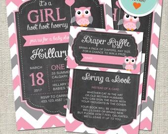 Owl Baby Shower Invitation, Owl Invitation, Owl, Pink, Gray, Chevron, Balloon | DIY
