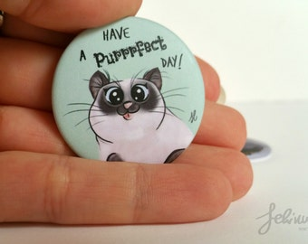 Round magnet purrrfect cat day