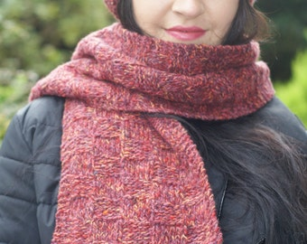 Women Scarf, Cashmere, Red, Tweed,  Filatura di Crosa, Hand Knitted, Unisex, Accessories, Gift for Her, Knit, Christmas  Gift, Winter, Soft