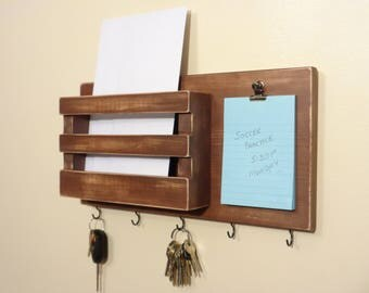 Mail Box - Mail Organizer - Key Holder - (5) Key Hooks - Note Pad W/Clip - Distressed Brown - Other Colors Too - Ready To Hang on The Wall