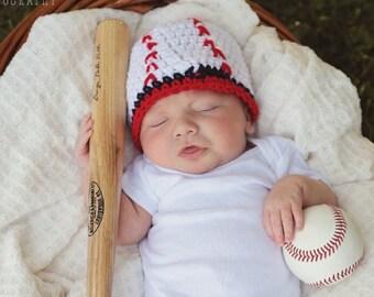 Baseball Hat, Crochet Baby Hat, Baseball Beanie, Newborn Hat, Baby Boy Hat, Newborn Photo Prop, Baby Hat, Baby Shower Gift, Baby Newborn Hat
