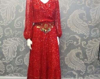 Vintage Oscar de la Renta Red Silk Peasant Skirt Ensemble