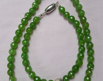Faceted Peridot beads, necklace and bracelet