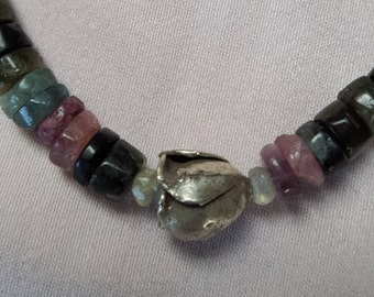 Tourmaline with silver Tulip