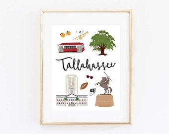 Tallahassee Art Print, Illustrated Tallahassee Decor, Tallahassee Gift, Tallahassee Wall Art