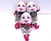 Humpty Dumpty Fairy Tales Stuffed Egg textile doll Handmade fabric decor Art soft Cloth dolls Easter doll
