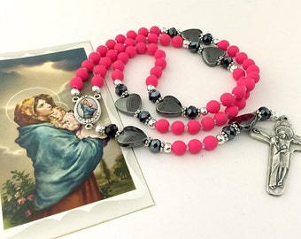 Pink Rosary. Maddonna of the Streets Rosary. Catholic Rosary. Mothers Gift. Girl Rosary. Schoenstatt Cross.Holy Rosary. Religious Gift. #R89