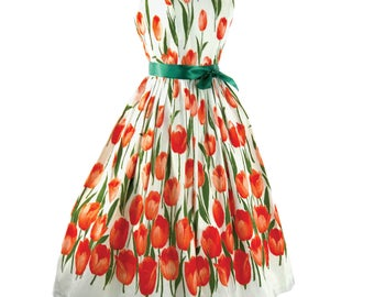 Vibrant 1950s Tangerine Tulips on White Pique Sun Dress/ 50s Dress