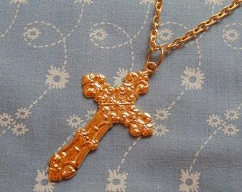 Decorative Cross Religious Charm Pendant Necklace