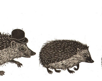 "Handmade Signed Lino Print ""Hedgehog Family"". By Laura Robertson."